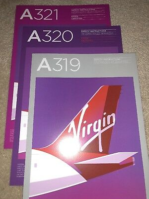 VIRGIN AMERICA AIRLINES SAFETY CARD--AIRBUS 321 320 319 Vx