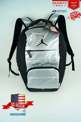 a6a70f716365 Nike Air Jordan All World Backpack Black Silver 9A1640 Laptop Bag RARE NEW