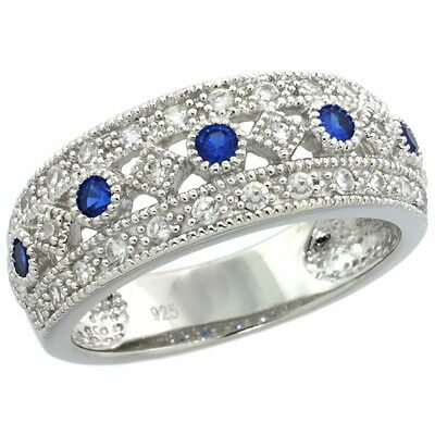Sterling Silver Vintage Style Ring w/ Clear & Blue Sapphire Color CZ Stones