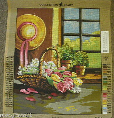 Hat & Basket of Flowers- TAPESTRY by Collection D'Art