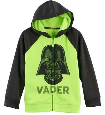 Boys Size 5 Star Wars Darth Vader Zip Front Hoodie Neon Yellow Green & Black NWT