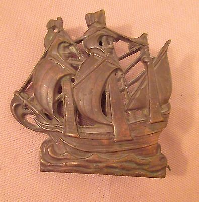 antique nautical May Flower sail ship boat bronze front door knocker brass old