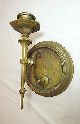 antique ornate heavy brass Gothic style wall sconce candle stick holder fixture