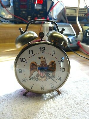 Vintage Lux Eagle Twin Bell Alarm Clock-Circa Late 60's To Early 70's-Running!!