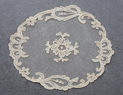 Victorian Era Irish Tambour Net Lace Oval Table Doily Dresser Scarf Antique VTG