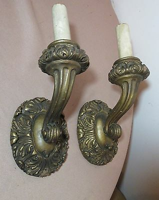 pair of 2 antique ornate Victorian gesso gold gilt wood wall fixtures sconces