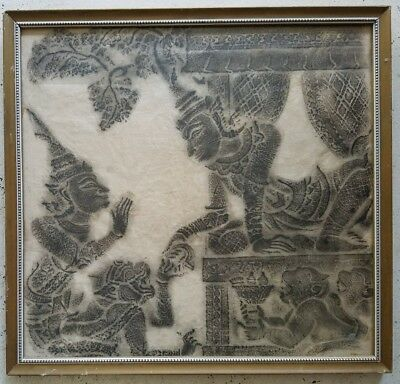 Vintage Thai/Cambodian Temple Stone Rubbing Art on Rice Paper Framed