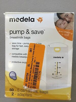 Medela Pump and Save Breast Milk Bags, 50 Count(Open Damage Box)