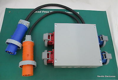 Milbank 12124-SC1 Junction Box w/ Hubbell and Leviton Plugs, 40A Circuit Breaker