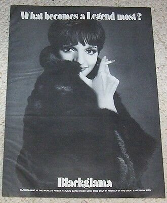 1974 vintage print ad - Blackglama mink fur LIZA MINNELLI smoking Legend Advert