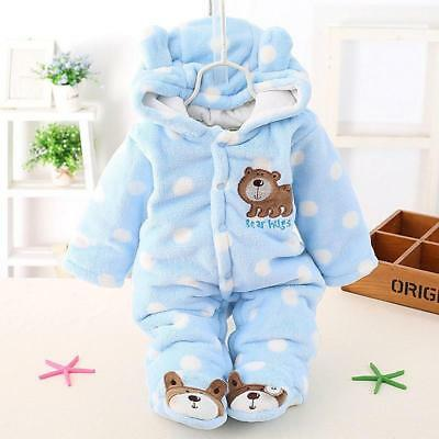 0-1 year Newborn Baby Polyester Winter Rompers Cartoon Clothes Snowsuit Shan
