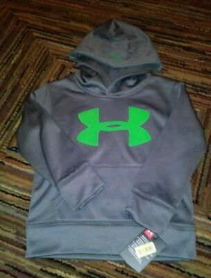 Nwt Under Armour Boys Gray Grey Green Pullover Logo Hoodie Hoody