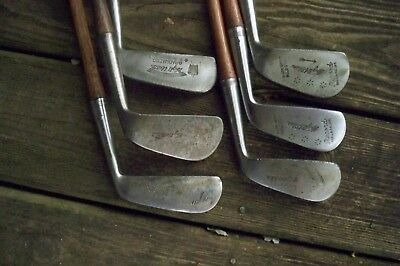 6 Antique Vintage Hickory Wood Shafted Wright&Ditson Clubs