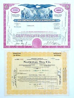 Lot of 2 1926 & 1964 STOCK CERTIFICATES Pan Am World Airways & National Tea Co.
