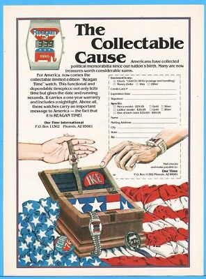 1980 Reagan Time Digital Watch Republican Political Memorabilia Vintage Print Ad