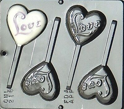 Love on Heart Lollipop Chocolate Candy Mold Valentine 218 NEW