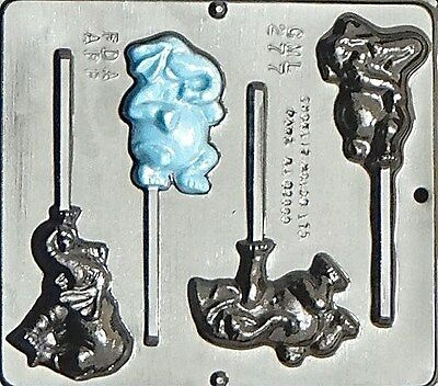 Comic Elephants Lollipop Chocolate Candy Mold 277 NEW