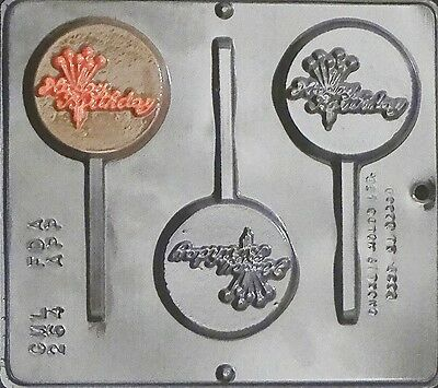 Happy Birthday Lollipop Chocolate Candy Mold 264 NEW