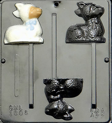 Lamb Lollipop Chocolate Candy Mold Easter 1806 NEW