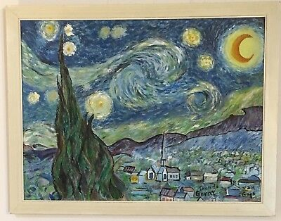STARRY NIGHT ACRYLIC Painting Antique 50\'s-60\'s Van Gogh Hand Made ...