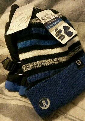 Free Country Kids Ski Mittens Blue 4 in 1 hat S/M Boys New with tags