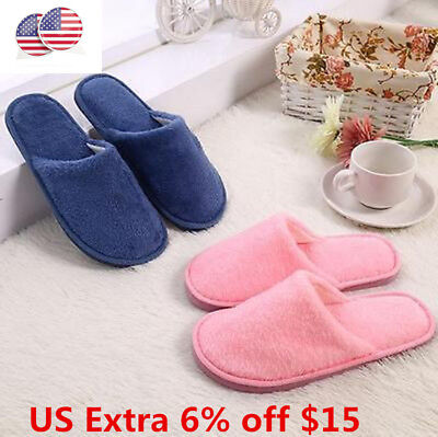 US Stock Unisex Cotton Winter Warm Indoor Sandal Home Anti-slip Shoes Slippers