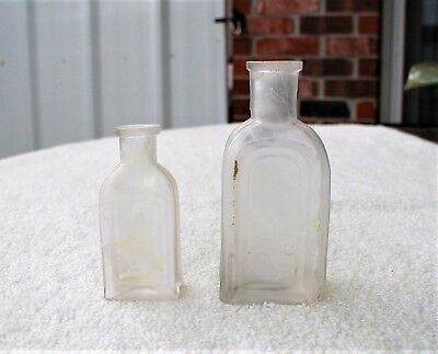"Two ""L. BINEAUD / N.O. / No 1 & No 2"" Clear Glass New Orleans Hair Dye Bottles"