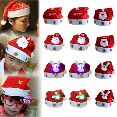 Christmas Hats For Kids.Led Christmas Hat Family Party Kids Santa Claus Reindeer Snowman Cap Hats Xmas