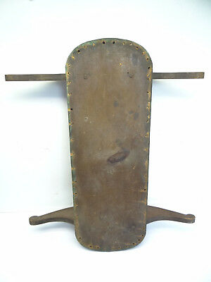 Antique Old Painted Green Doll Crib Base Rocker Arms Wood Part Used