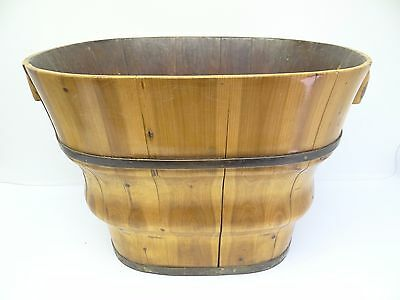 Vintage Slated Natural Wood Asian Chinese Lacquer Finish Wastebasket Basket