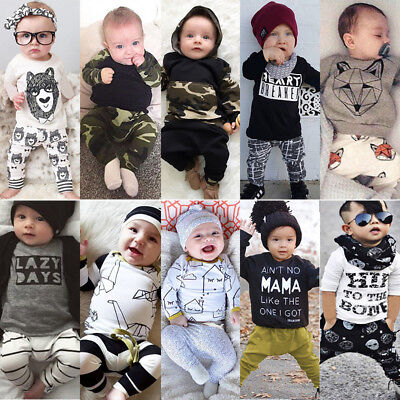 2/3pcs Newborn Toddler Baby Boy Girl Clothes T-shirt Top Romper Pants Outfit Set
