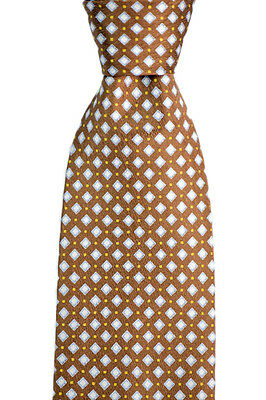 """Mens BRIONI Italy Brown Dots & Diamonds Hand Made Woven 3.25"""" Silk Neck Tie NWT"""