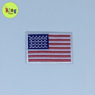 American Flag Embroidered Patch Iron On White Border US United States