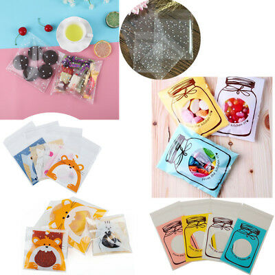 100pcs Cookie Candy Bag Self Adhesive Plastic Cute Birthday Wedding Party Gift