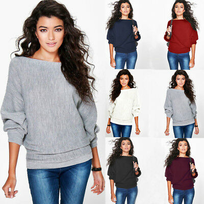 Womens Long Sleeve Baggy Ladies Pullover Top Knitted Oversized Sweater Jumper UK