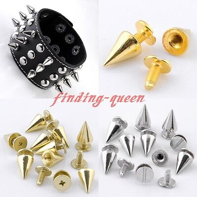 25pc Punk 7x10mm Spike Rivet Screw Bead DIY Metal Cone Studs Nailhead Spots Rock