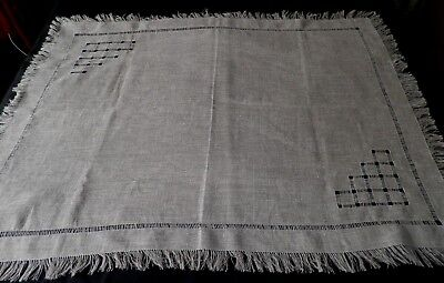 """VINTAGE  LINEN TABLE CLOTH in BEIGE - DRAWN THREAD CORNERS 46"""" by 36"""" - UNUSED"""