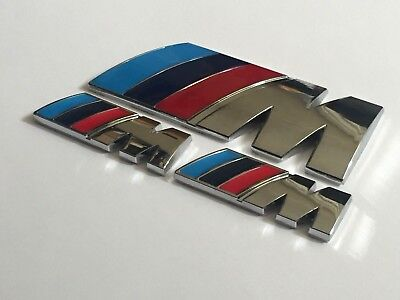BMW Chrome M Sport M Power Badge Set (2 x Small Wings & 1 x Trunk Badge) Emblem