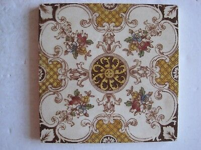 Antique Victorian Transfer Print And Tint Aesthetic Floral Design Wall Tile