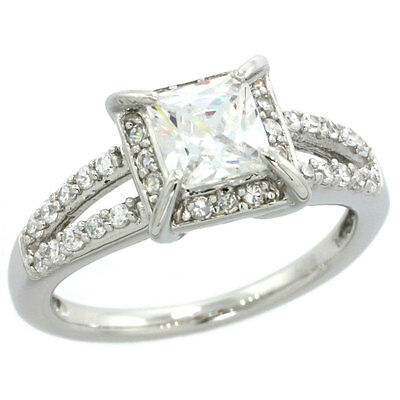 Sterling Silver Engagement CZ Ring w/5.5mm (1.0 ct) Princess Cut Center cz Stone