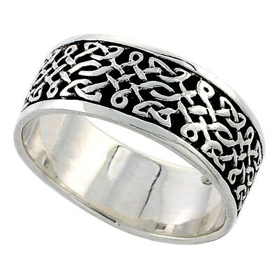 "5/16"" (8 mm) wide Sterling Silver Celtic Knot Flat Wedding Band / Thumb Ring"