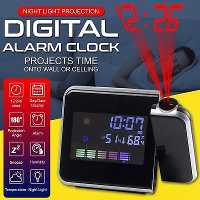 Digital LED LCD Projector Snooze Time Colorful Alarm Clock Weather Thermometer
