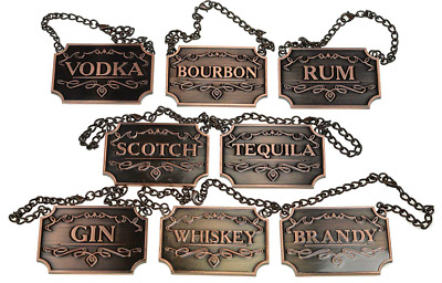 Liquor Decanter Tags Labels Set of 8-pcs Whiskey Bourbon Scotch Gin Copper New