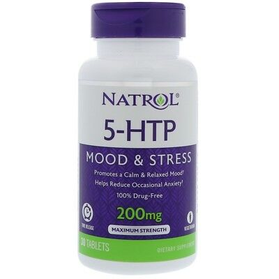 Natrol, 5-HTP, Time Release, Maximum Strength, 200 mg, 30 Tablets