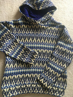 Vintage Porath Magneheim Hoodie Sweater All Wool Made in Sweden Blue S Pockets