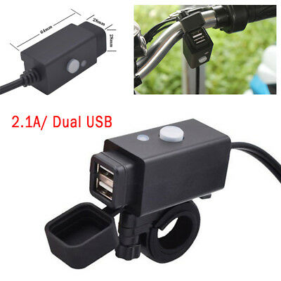 Motorcycle SAE to USB Cable Charger Adapter 2.1A Dual Ports Power Socket Black