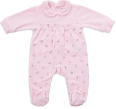 Spanish Baby Girl Pink Velour All In One / Baby Grow / Sleepsuit / Romper