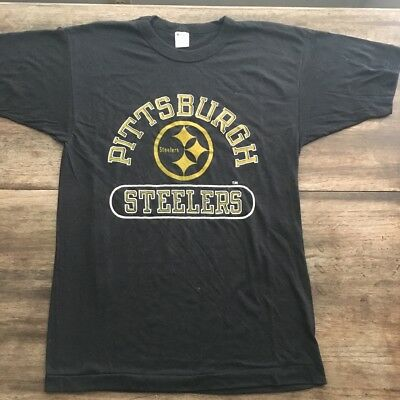 Vintage 80s Pittsburgh Steelers Solid Black Champion T Shirt NOS Deadstock