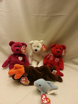 Lot Of 5 Ty Beanie Babies Valentina,secret,chocolate,mrs. And Clipper With Tags