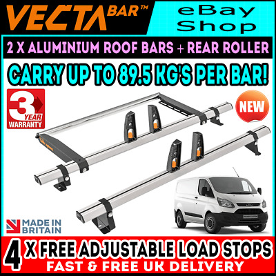 Ford Transit Custom Roof Rack Bars x3 And Roller = SWB-L1 & LWB-L2 2013-2020 Van